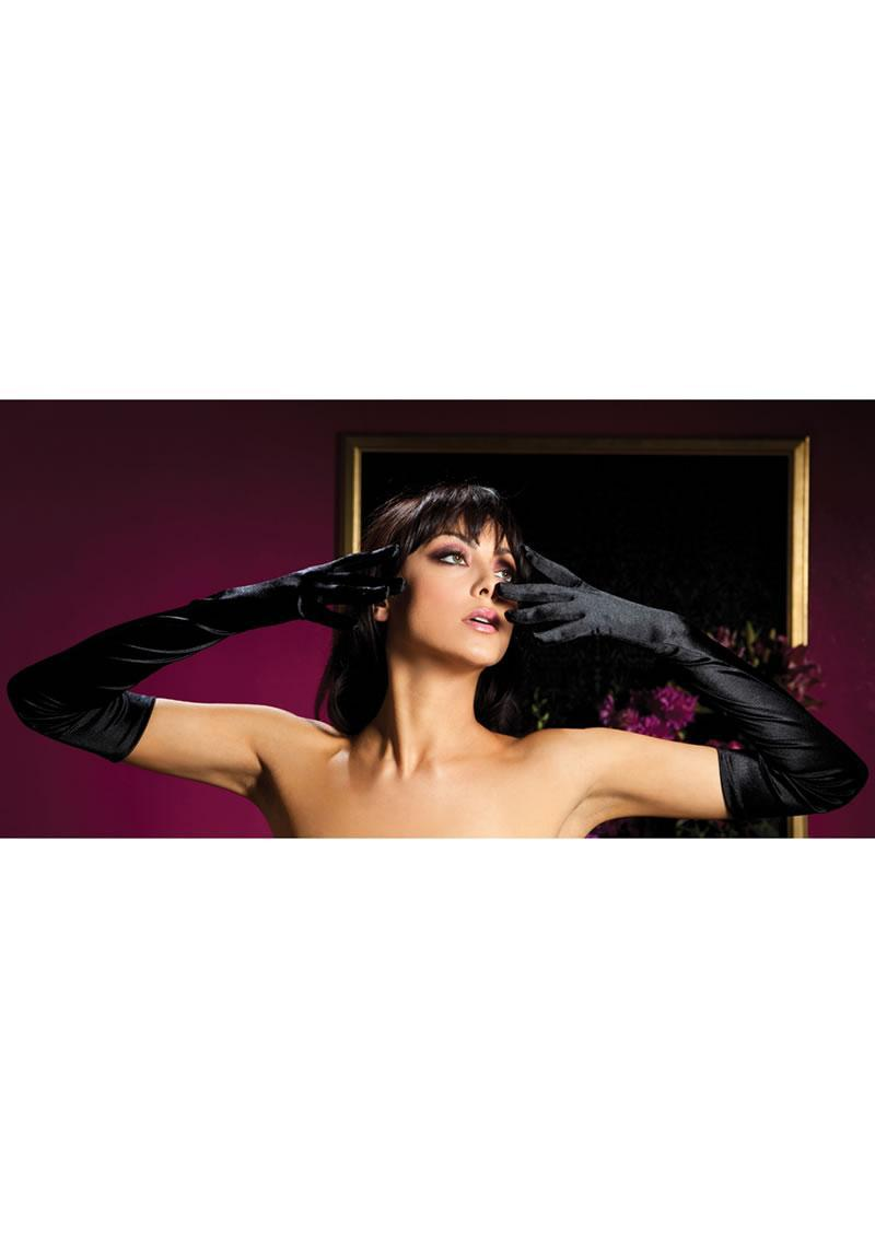 Satin Opera Length Gloves-black O/s